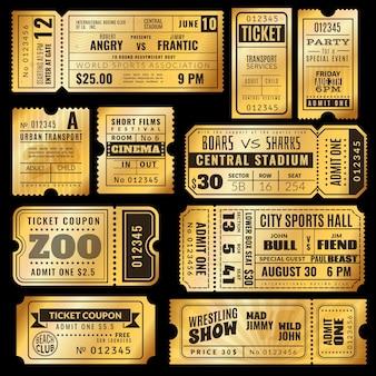 Packung mit goldenen vintage-tickets