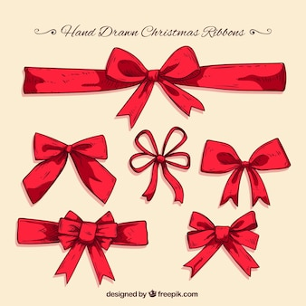 Packung mit großer handgezeichneten bänder für weihnachten