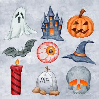 Packung mit gruseligen halloween-elementen
