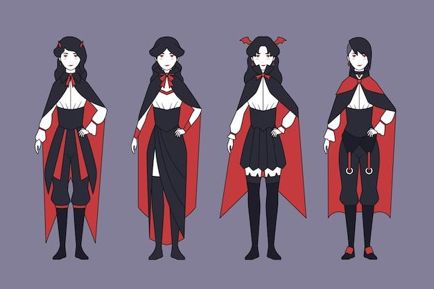 Packung mit gruseligen halloween-vampir-charakteren