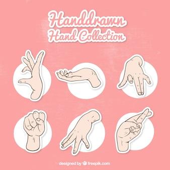 Packung mit händen und gebärdensprache