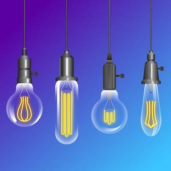 Packung mit hängenden glühbirnen