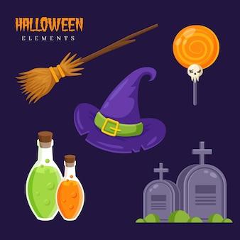 Packung mit halloween-elementen
