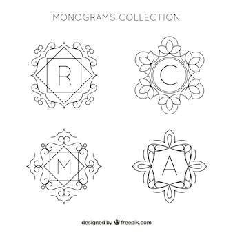 Packung mit hand gezeichneten monogrammen