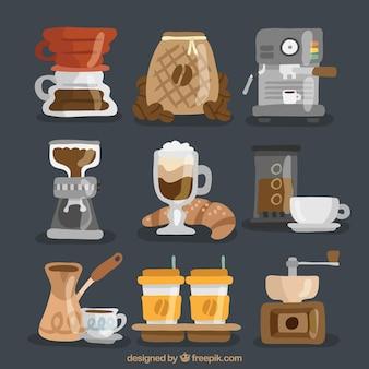 Packung mit handbemalten kaffeezubehör