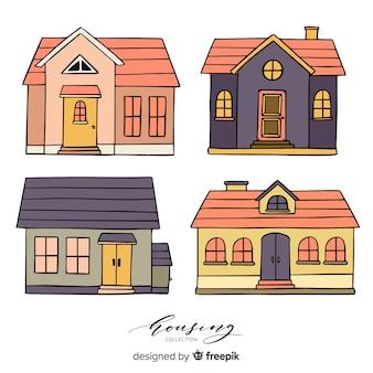 Packung mit handgezeichneten häusern