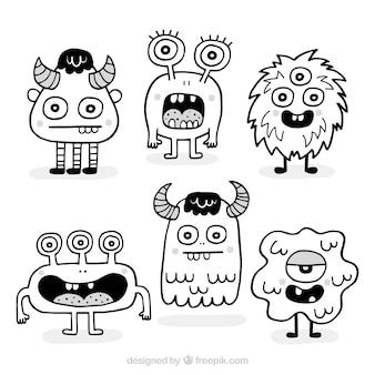 Packung mit handgezeichneten monstern