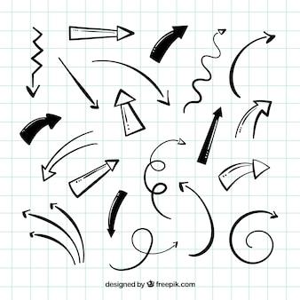 Packung mit handgezeichneten pfeilen