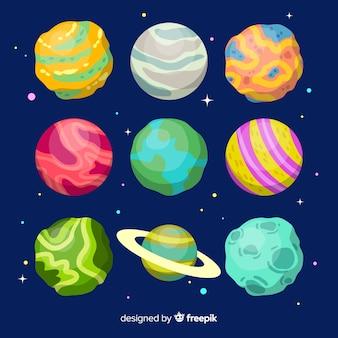 Packung mit handgezeichneten planeten des sonnensystems