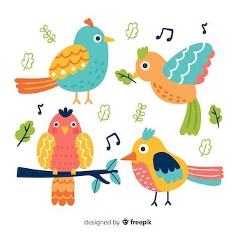 Packung mit handgezeichneten vögeln