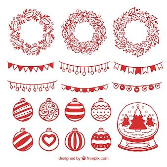 Packung mit handgezeichneten weihnachtsdekorationselementen