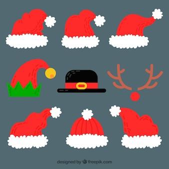 Packung mit handgezeichneten weihnachtsmützen