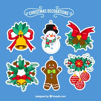 Packung mit handgezeichneten weihnachtsstickern