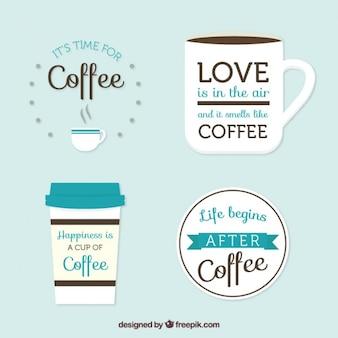 Packung mit hübschen retro kaffee abzeichen