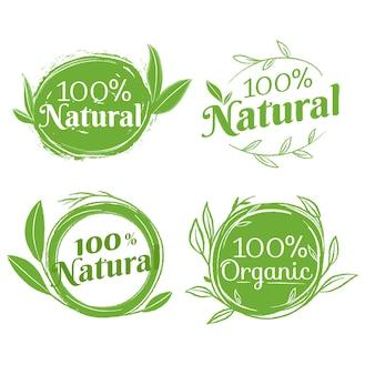 Packung mit hundertprozentigen natürlichen abzeichen