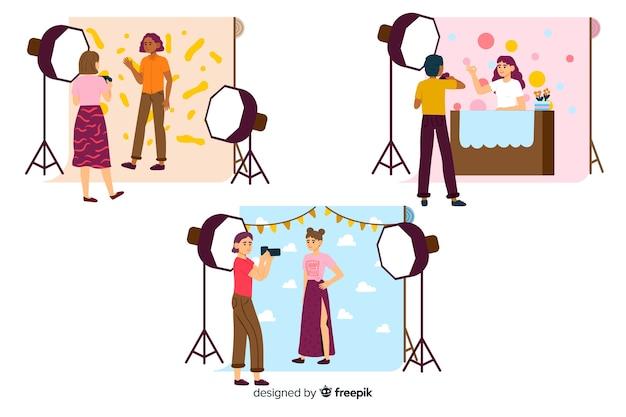 Packung mit illustrierten fotografen, die aufnahmen mit verschiedenen modellen machen