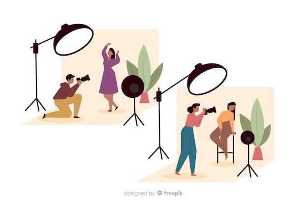 Packung mit illustrierten fotografen, die aufnahmen von verschiedenen modellen machen
