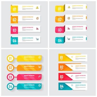 Packung mit infografik-element-vorlage