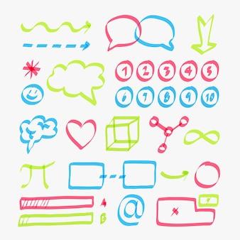 Packung mit infografik-elementen der schule in verschiedenen farben