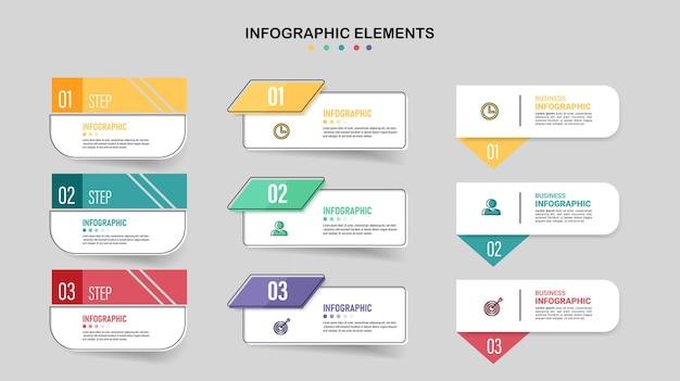 Packung mit infografiken elementvorlage Premium Vektoren