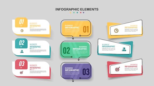 Packung mit infografiken elementvorlage.