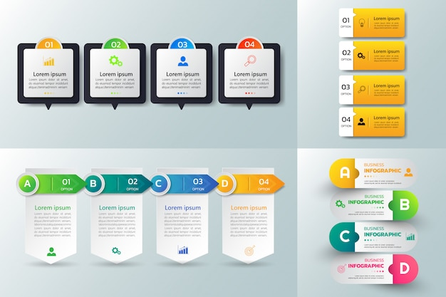 Packung mit infografiken template-design.