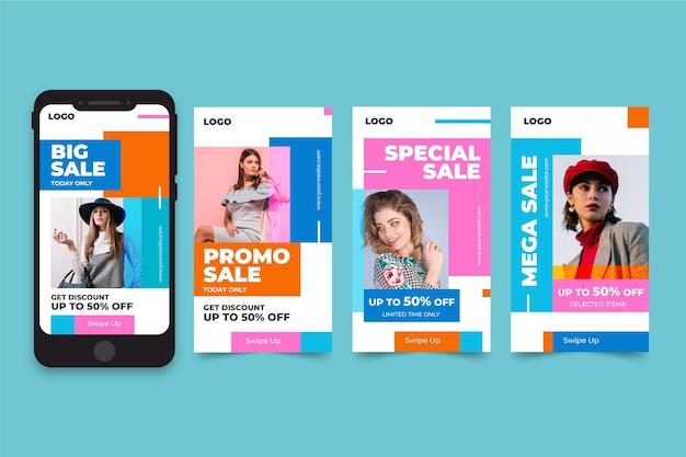 Packung mit instagram-geschichten für den modeverkauf