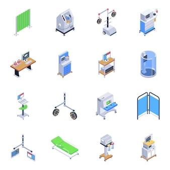 Packung mit isometrischen symbolen für medizinische werkzeuge
