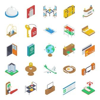 Packung mit isometrischen travel icons