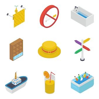 Packung mit isometrischen zubehör icons