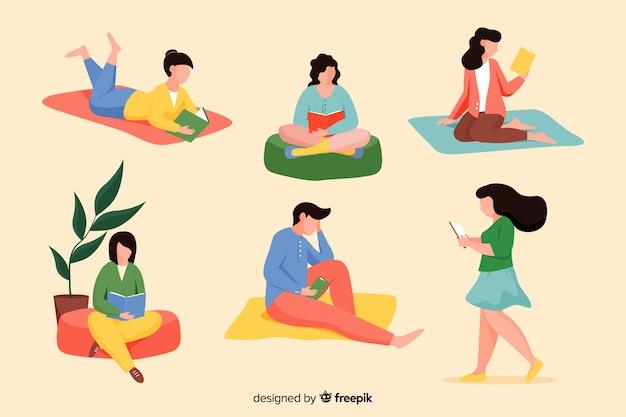 Packung mit jungen menschen, die bücher lesen