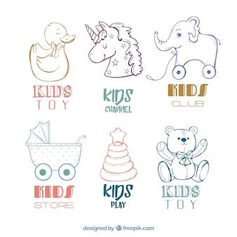 Packung mit kinder logos hand gezeichnet