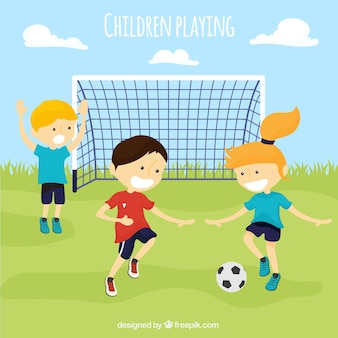 Packung mit kindern fußball spielen Premium Vektoren