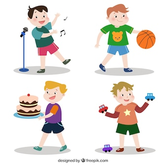 Packung mit kindern mit verschiedenen objekten