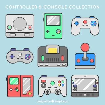 Packung mit konsolen und kontrollen