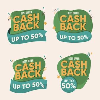 Packung mit kreativen cashback-labels