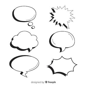 Packung mit leeren sprechblasen für comics