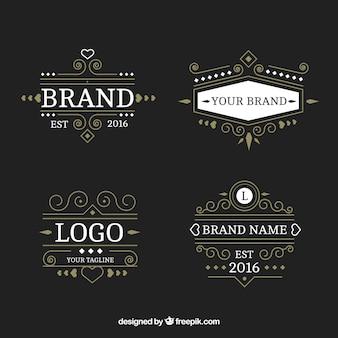 Packung mit luxuriösen logos im viktorianischen stil