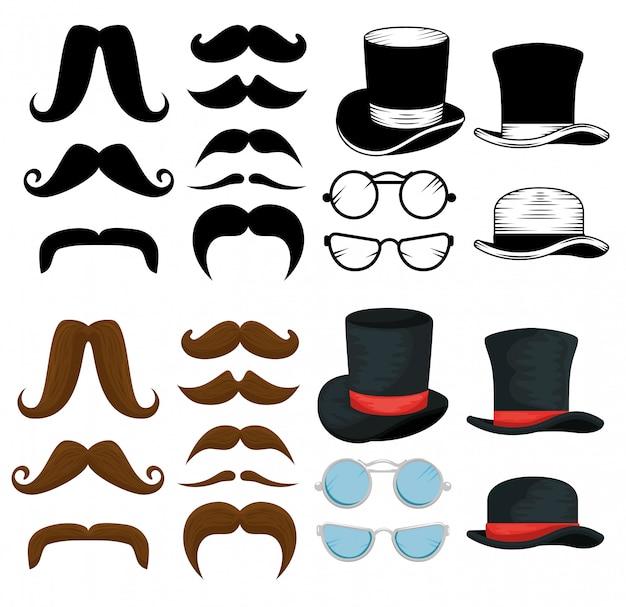 Packung mit männlichen hüten, schnurrbärten und brillen