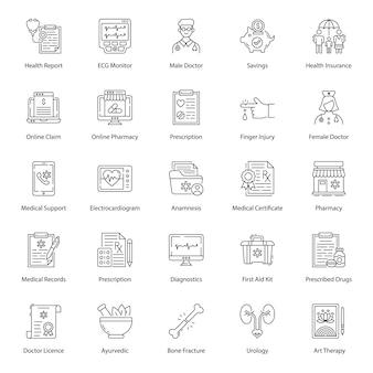 Packung mit medizinischen linie icons pack