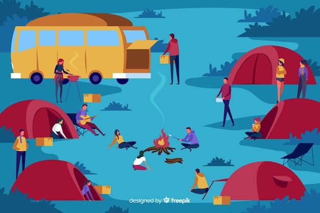 Packung mit menschen camping flache bauform