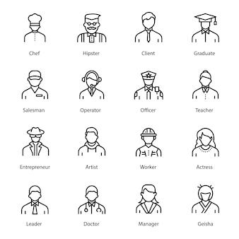 Packung mit menschen linie avatar