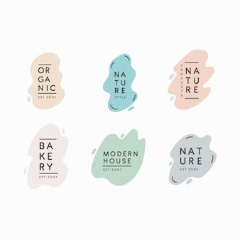 Packung mit minimalen pastell-logos