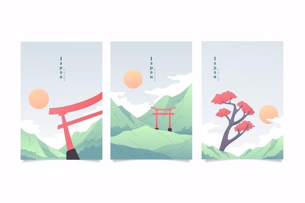 Packung mit minimalistischen japanischen decken