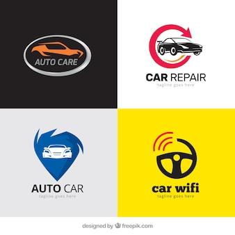 Packung mit modernen logos mit autos