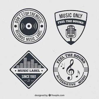 Packung mit musik abzeichen im retro-design