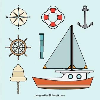 Packung mit nautischen elementen