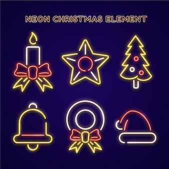 Packung mit neon-weihnachtselementen