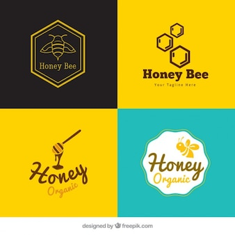 Packung mit netten honig logos