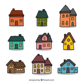 Packung mit neun handgezeichneten häusern